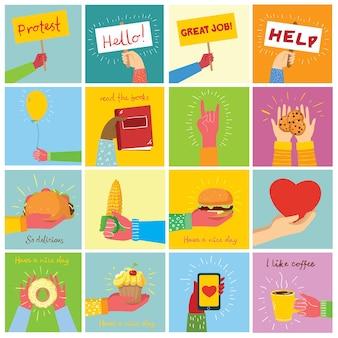 Le illustrazioni disegnate a mano delle mani tengono cose diverse
