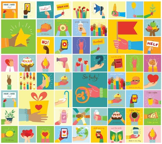 Le illustrazioni disegnate a mano delle mani tengono cose diverse, come smartphone, pizza, gelato, ciambella e altri in stile piatto