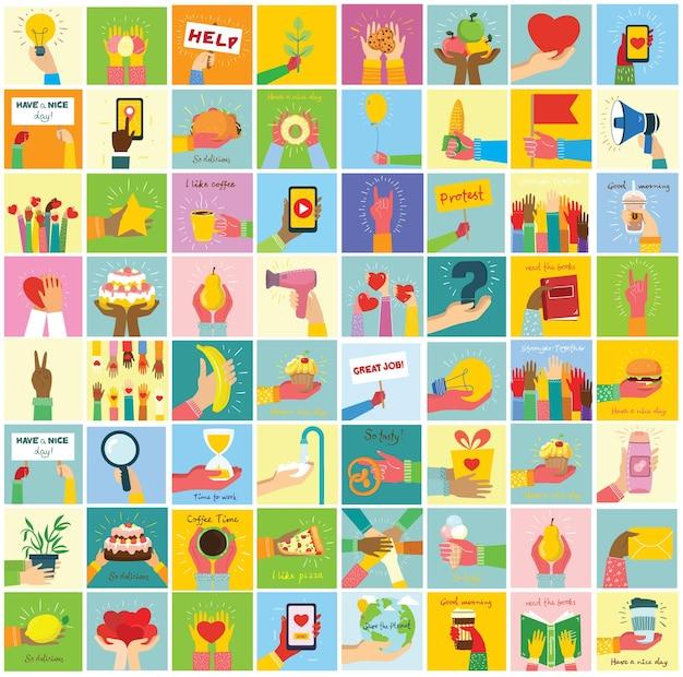 Le illustrazioni disegnate a mano delle mani tengono cose diverse, come smartphone, pizza, gelato, ciambelle e altri in stile piatto