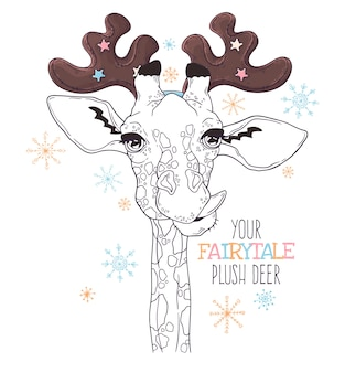 Illustrazioni disegnate a mano. ritratto di carino giraffa in corna di cervo decorativo.