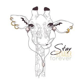 Illustrazioni disegnate a mano. ritratto di carino giraffa in accessori musicali.