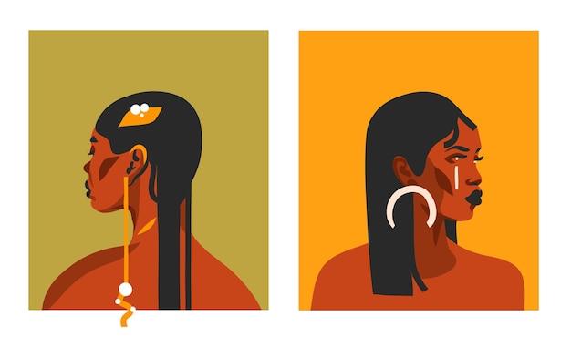 Illustrazioni disegnate a mano con nero tribale etnico bohemien, bella collezione di donne afro-americane