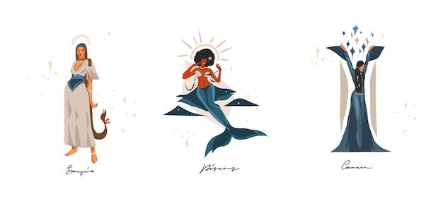 Illustrazioni disegnate a mano con la raccolta di segni zodiacali astrologici contemporanei dell'acqua.
