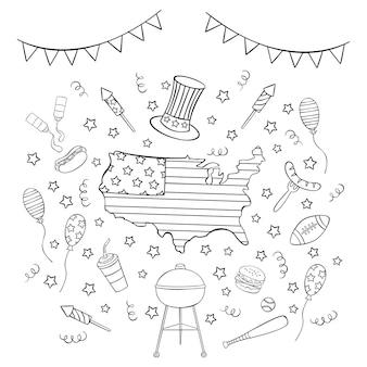 Set di icone del giorno dell'indipendenza disegnata a mano in stile doodle