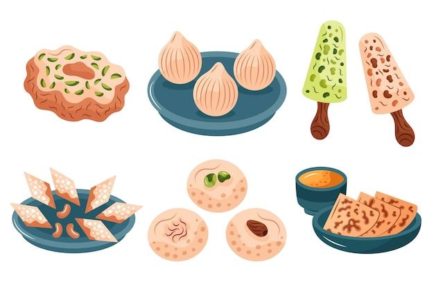 Set di dolci indiani disegnati a mano