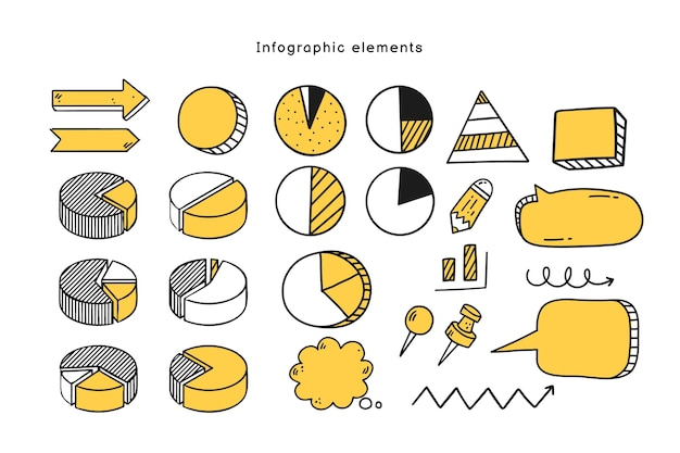 Collezione di elementi infografici disegnati a mano