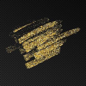 Macchia di inchiostro disegnata a mano in glitter oro. macchia d'inchiostro d'oro con scintillii isolato su sfondo trasparente scuro. illustrazione vettoriale