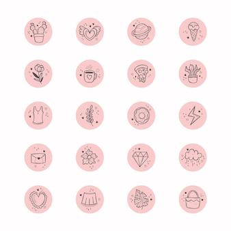 Punti salienti di instagram disegnati a mano