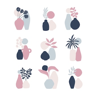 Elementi di interior design disegnati a mano. foglia della pianta, vaso isolato su priorità bassa bianca. stile minimalista scandinavo.