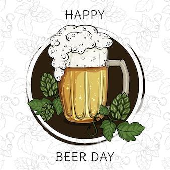 Illustrazione disegnata a mano della giornata internazionale della birra