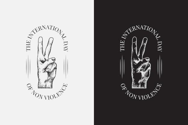 Etichette della giornata internazionale della pace disegnate a mano