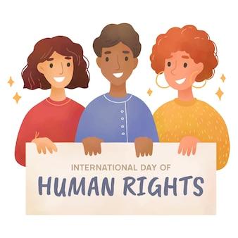 Illustrazione disegnata a mano della giornata internazionale dei diritti umani con persone che tengono cartellone