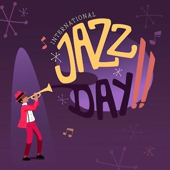 Illustrazione disegnata a mano del giorno del jazz internazionale