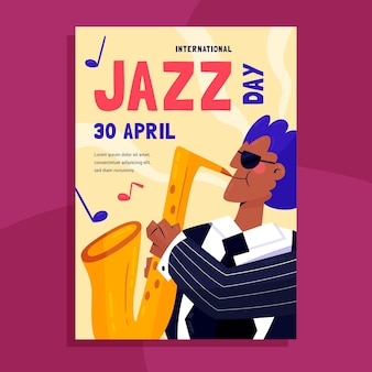 Modello di poster verticale di giornata internazionale del jazz disegnato a mano