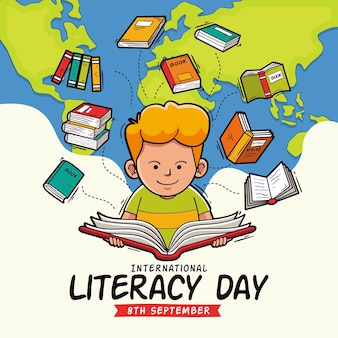 Concetto di giornata internazionale di alfabetizzazione disegnata a mano