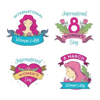 Collezione di badge per la giornata internazionale della donna disegnata a mano