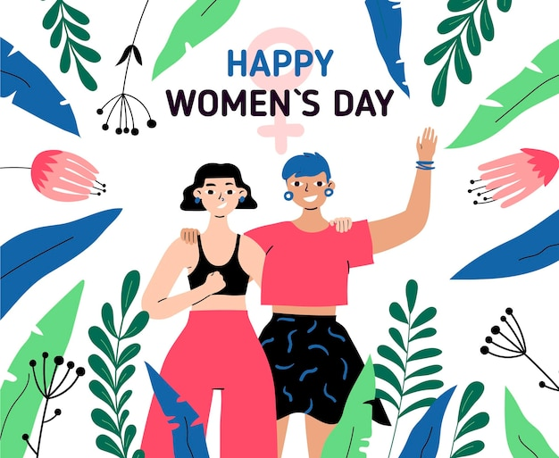 Illustrazione disegnata a mano della giornata internazionale della donna con donne e foglie