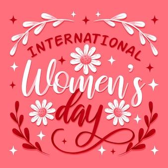 Iscrizione della giornata internazionale della donna disegnata a mano