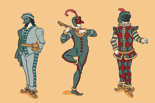 Pacchetto di personaggi di carnevale italiano disegnato a mano