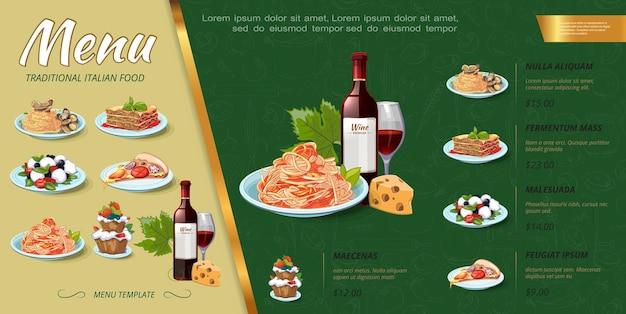 Concetto di menu di cibo italiano disegnato a mano con bottiglia di vino, torte, cozze, pasta, spaghetti, pezzo di pizza, insalata, lasagne