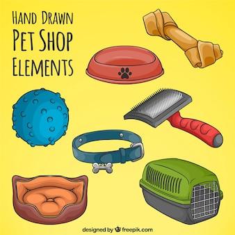 Oggetti disegnati a mano per gli animali