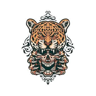 Teschio e giaguaro disegnati a mano