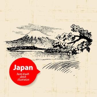 Illustrazione giapponese disegnata a mano. sfondo di schizzo