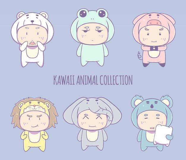 Raccolta disegnata a mano dell'illustrazione del carattere del costume animale di kawaii.