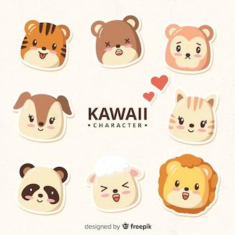 Collezione di facce di animali kawaii disegnati a mano
