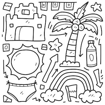 Disegno da colorare cartone animato doodle disegnato a mano spiaggia kawaii