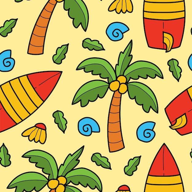 Disegno del modello del fumetto di doodle disegnato a mano della spiaggia di kawaii