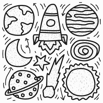 Disegno del pianeta di doodle del fumetto disegnato a mano kawaii