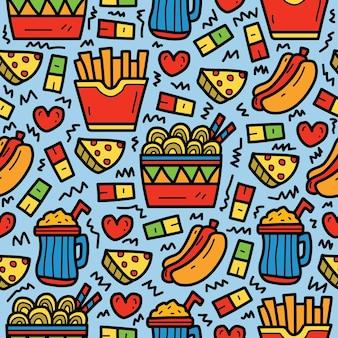 Disegno del modello di doodle di cibo del fumetto disegnato a mano kawaii