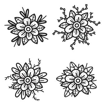 Illustrazione disegnata a mano di progettazione del fiore del fumetto di scarabocchio di kawaii