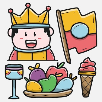 Illustrazione disegnata a mano di progettazione del re del fumetto di scarabocchio di kawaii