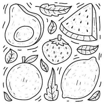 Disegno da colorare di cartoni animati di frutta doodle disegnato a mano kawaii
