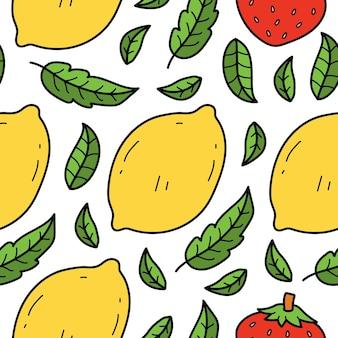 Disegno del modello del fumetto di frutta doodle disegnato a mano kawaii
