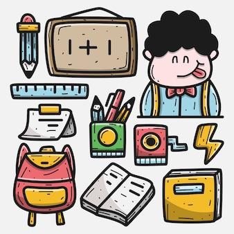 Illustrazione disegnata a mano di progettazione del fumetto della scuola di scarabocchio di kawaii