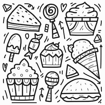 Disegno di doodle del fumetto di cibo kawaii disegnato a mano