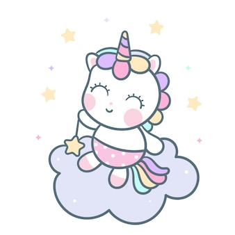 Vettore disegnato a mano di unicorno di kawaii sulla nuvola