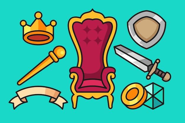 Set di strumenti del regno disegnato a mano