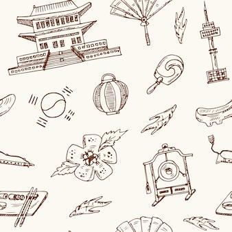 Elementi coreani disegnati a mano