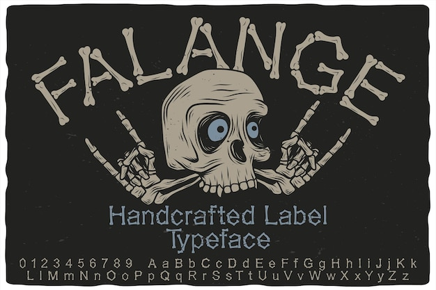 Carattere di etichetta disegnata a mano e teschio