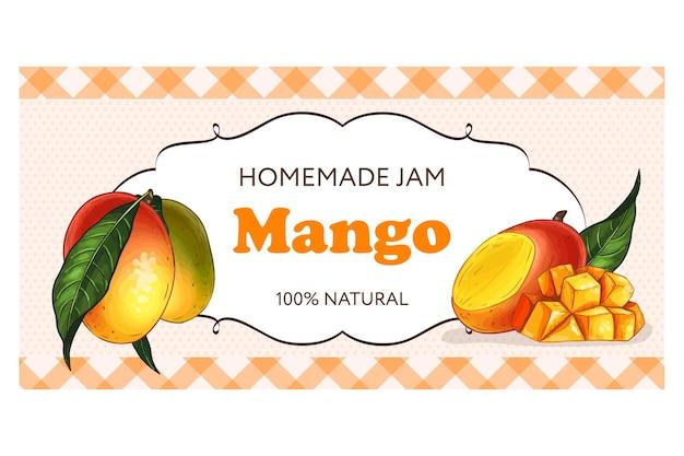 Etichetta disegnata a mano, marmellata di mango fatta in casa