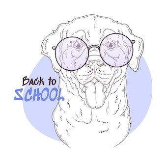 Cane labrador retriever disegnato a mano con gli occhiali