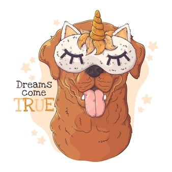 Cane labrador retriever disegnato a mano con maschera per dormire
