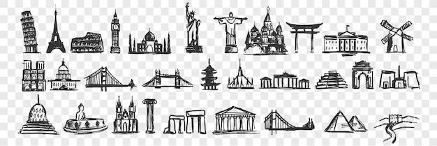 Insieme di doodle di punti di riferimento disegnati a mano