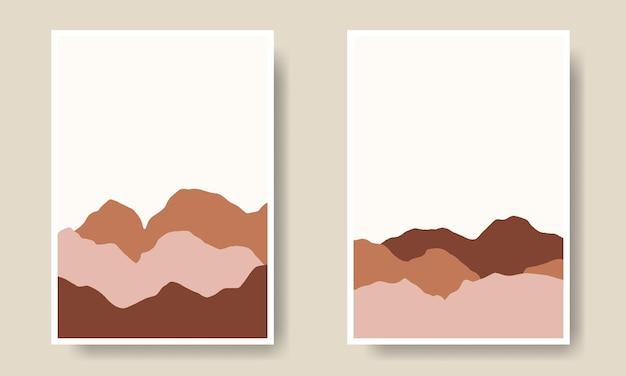 Collezione di copertine a forma di paesaggio disegnato a mano