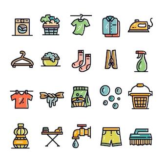 Set di icone disegnate a mano lavanderia