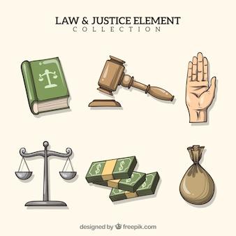 Raccolta di elementi di legge e giustizia disegnati a mano